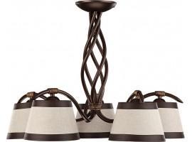 Lampa sufitowa Żyrandol ALBA 5 brązowy Sigma 19101