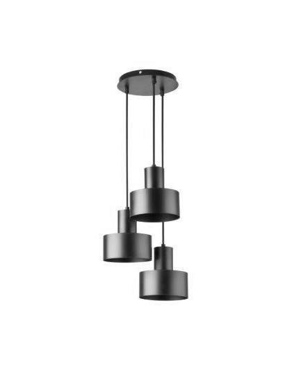 Deckenlampe Hängelampe Metall Modern Design Stahl Rif 3-flg rund Schwarz 30900