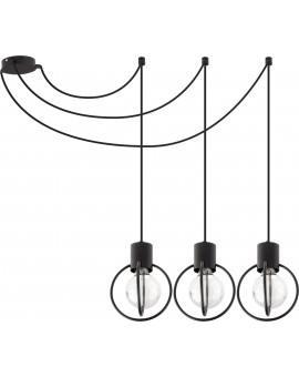 Deckenlampe Hängelampe Drahtlampe Design Metall Aura 3-flg Schwarz Matt 31085