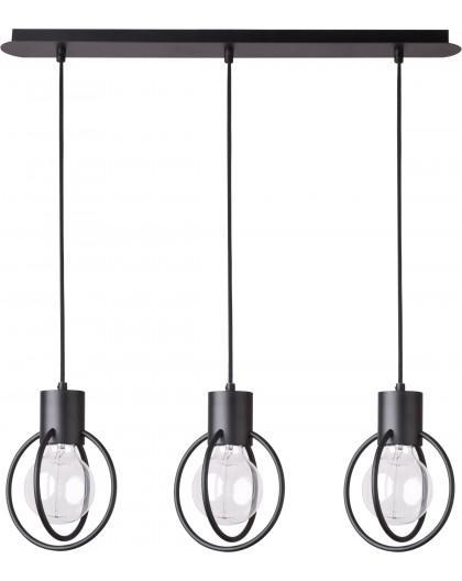 Deckenlampe Hängelampe Drahtlampe Design Metall Aura 3-flg Schwarz Matt 31090