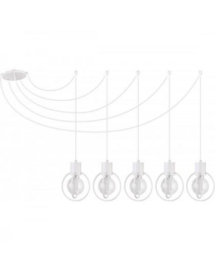 Deckenlampe Hängelampe Drahtlampe Design Metall AURA 5-flg Weiß Matt  31097