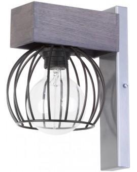 Lampe Wandlampe Wandleuchte Drahtlampe Design Holz MILAN Grau 31711