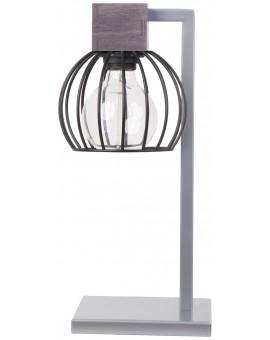 Lampe Tischlampe Nachtlampe Drahtlampe Design Holz MILAN Grau 50136