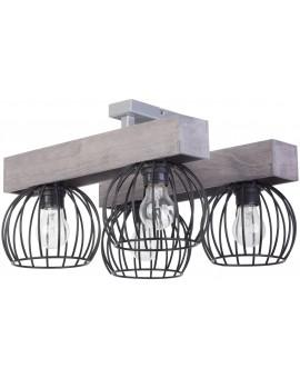 Lampe Deckenlampe Deckenleuchte Drahtlampe Design Holz MILAN Grau 31709