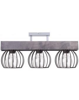 Lampe Deckenlampe Deckenleuchte Drahtlampe Design Holz MILAN Grau 31707