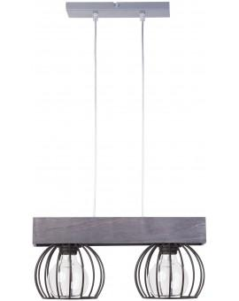 Lampe Deckenlampe Hängelampe Drahtlampe Design Holz MILAN Grau 31706