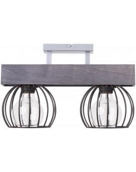 Lampe Deckenlampe Deckenleuchte Drahtlampe Design Holz MILAN Grau 31705