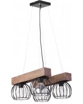 Lampe Deckenlampe Hängelampe Drahtlampe Holz Design MILAN Braun 31576