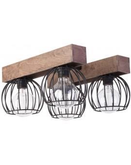 Lampe Deckenlampe Deckenleuchte Drahtlampe Holz Design MILAN Braun 31575