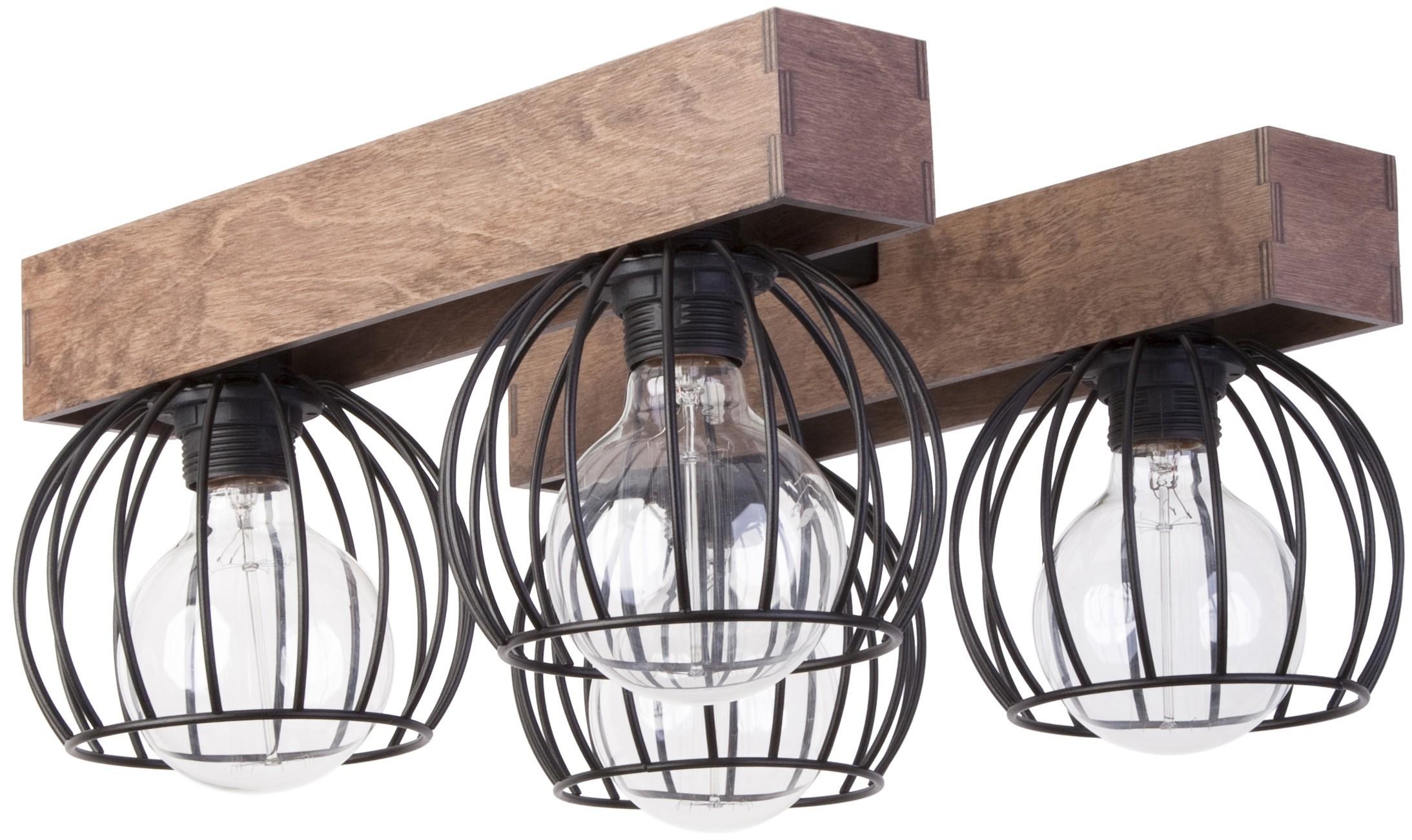 Lampe Deckenlampe Deckenleuchte Drahtlampe Holz Design Milan Braun