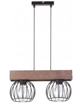 Lampe Deckenlampe Hängelampe Drahtlampe Holz Design MILAN Braun 31572