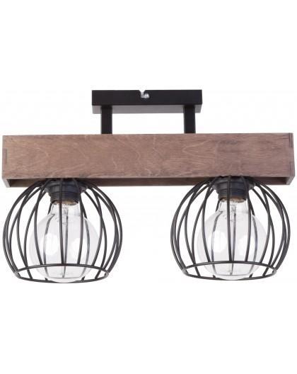 Lampe Deckenlampe Deckenleuchte Drahtlampe Holz Design MILAN Braun 31571