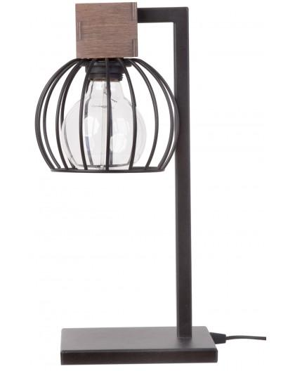 Lampe Tischlampe Nachtlampe Drahtlampe Holz Design MILAN Braun 50120