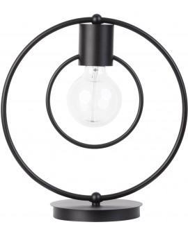 Lampe Tischlampe Nachtlampe Drahtlampe Loft FREDO Rund Schwarz 50104