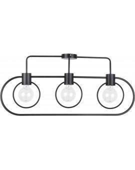 Lampe Deckenlampe Deckenleuchte Drahtlampe Loft FREDO Rund Schwarz 31523