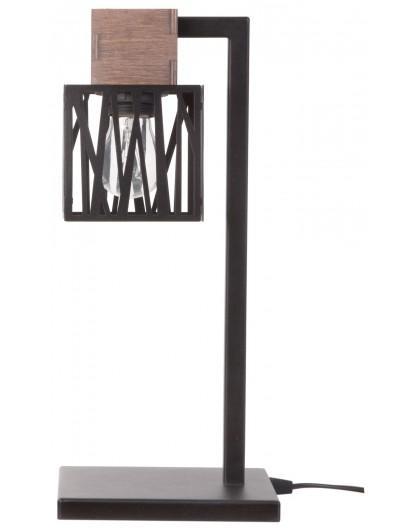Nachtlampe Tischlampe Modern Design Holz Muster DALI Schwarz 50094