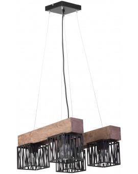 Hängelampe Pendelleuchte Modern Design Holz Muster DALI Schwarz 31484
