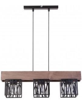 Hängelampe Pendelleuchte Modern Design Holz Muster DALI Schwarz 31482