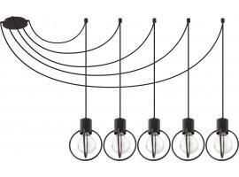 Deckenlampe Hängelampe Drahtlampe Design Metall AURA 5-flg Schwarz Matt  31086