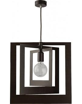 Lampe Deckenlampe Hängelampe Modern Design Holz Glam Quadrat Wenge 31364