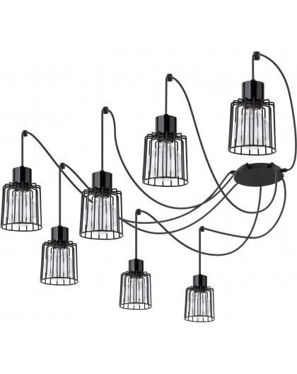 Hanging lamp Luto kwadrat 7 black połysk 31131 Sigma