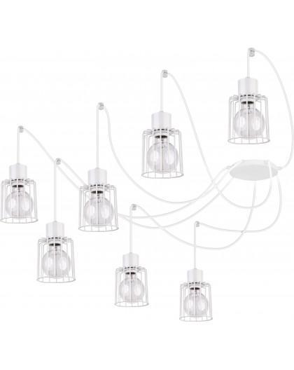 Deckenlampe Hängelampe Drahtlampe Design Metall Luto 7-flg Weiß  31142