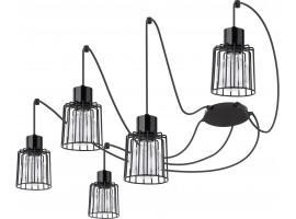 Deckenlampe Hängelampe Drahtlampe Design Metall Luto 5-flg Schwarz 31130