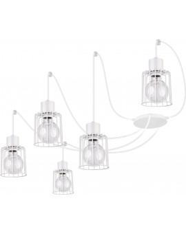 Deckenlampe Hängelampe Drahtlampe Design Metall Luto 5-flg Weiß 31141