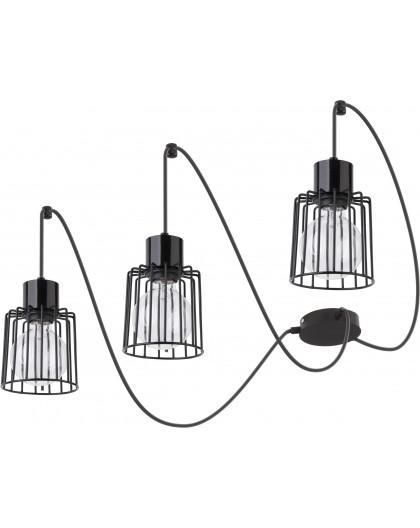 Deckenlampe Hängelampe Drahtlampe Design Metall Luto 3-flg Schwarz 31129