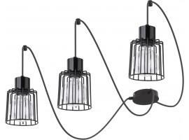 Hanging lamp Luto kwadrat 3 black połysk 31129 Sigma