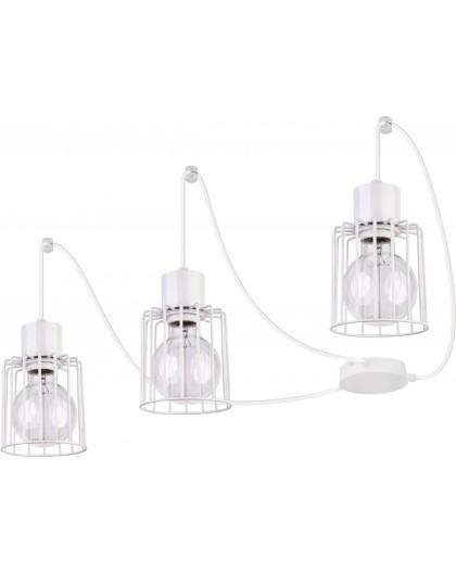 Deckenlampe Hängelampe Drahtlampe Design Metall Luto 3-flg Weiß 31140