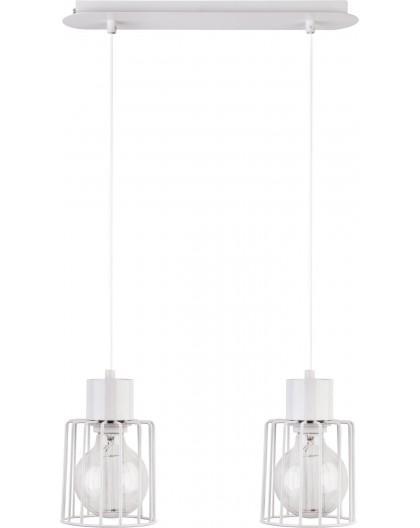 Deckenlampe Hängelampe Drahtlampe Design Metall Luto 2-flg Weiß 31144