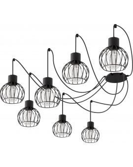 Deckenlampe Hängelampe Drahtlampe Design Metall Luto 7-flg Schwarz Matt 31153