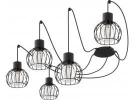 Deckenlampe Hängelampe Drahtlampe Design Metall Luto 5-flg Schwarz Matt 31152