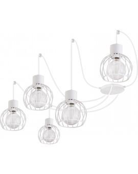 Deckenlampe Hängelampe Drahtlampe Design Metall Luto 5-flg Weiß Matt 31163