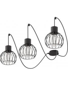 Deckenlampe Hängelampe Drahtlampe Design Metall Luto 3-flg Schwarz Matt 31151