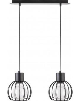 Deckenlampe Hängelampe Drahtlampe Design Metall Luto 2-flg Schwarz Matt 31155