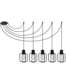 Hanging lamp Aura kwadrat 5 black połysk 31108 Sigma