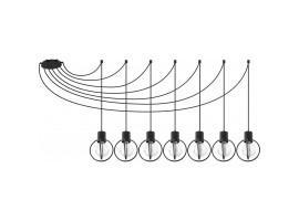 Deckenlampe Hängelampe Drahtlampe Design Metall Aura 7-flg Schwarz Matt 31087