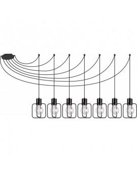 Deckenlampe Hängelampe Modern Design Aura Quadrat 7 Schwarz Glanz 31109