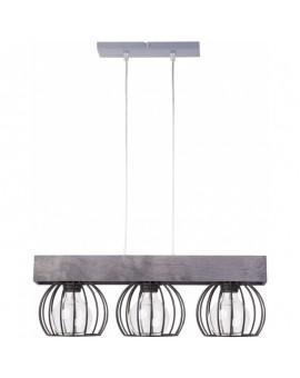 Lampe Deckenlampe Hängelampe Drahtlampe Design Holz MILAN Grau 31708