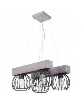 Lampe Deckenlampe Hängelampe Drahtlampe Design Holz MILAN Grau 31710
