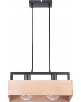 PENDANT LIGHT HANGING LAMP DAKOTA 2 BEIGE WOOD AND METAL 31749 SIGMA