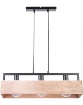 PENDANT LIGHT HANGING LAMP DAKOTA 3 BEIGE WOOD AND METAL 31747 SIGMA