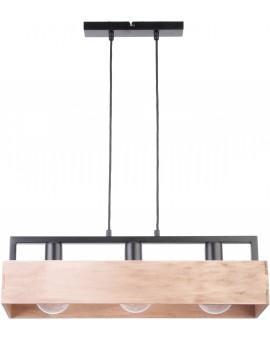 PENDANT LIGHT HANGING LAMP DAKOTA 3 BEIGE WOOD AND METAL 31747 SIGMA
