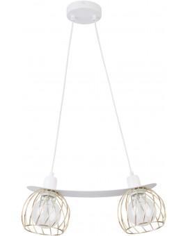 Lampe Hängelampe Draht Lampe Käfig REGGE Weiß Golden Design Modern 31855
