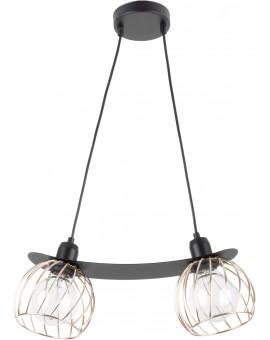 Lampe Hängelampe Draht Lampe Käfig REGGE Schwarz Golden Design Modern 31856