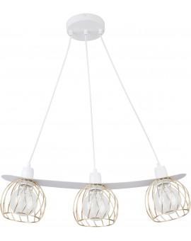 Lampe Hängelampe Draht Lampe Käfig REGGE Weiß Golden Design Modern 31850